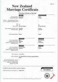 vielsesattest på engelsk